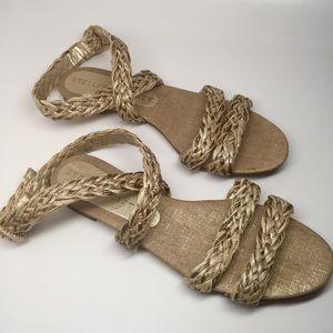 Stella McCartney raffia cross over sandal